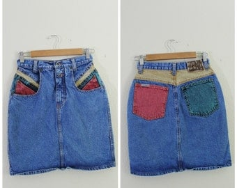 90's Vintage - Denim Primary Colors - Color Block Skirt - Size XS / Size Small