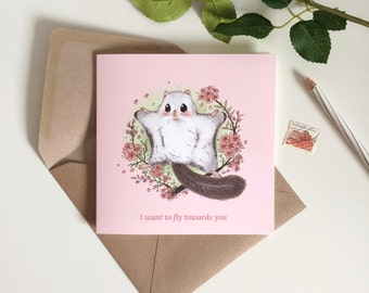 Flying Squirrel with cherry blossom - I want to fly towards you - Greeting card for best friends