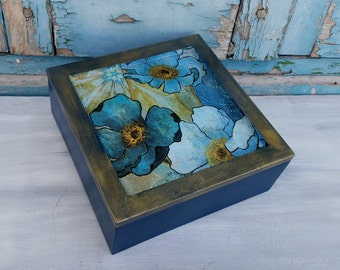Blue Flowers Box,Blue Jewelry Box,Wooden Blue Box,Flowers Art Box,Flowers Art,Elegant Jewelry Box,Mother's Day Gift,Valentine's Day Gift