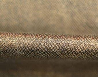Embossed Dark Gold Print Leather Hide  75cm x 60cm 0,6mm thick Genuine Italian Leather Basket  Snake  Pattern Brown Golden b344