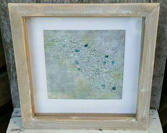 Mixed Media Sparkly Encrusted Angel Wing Keepsake Remembrance Memorial  framed