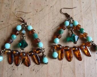 Rhiannon~Gypsy Earrings/Boho Earrings/Bohemian Earrings/Chandelier Earrings/Czech Glass Earrings/ Stevie Nicks Style/Swarovski Earrings