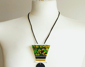 Jewelry geometric, necklace zigzag, necklace modern, necklace grass green, necklace colorful, necklace Vintage, gift for her