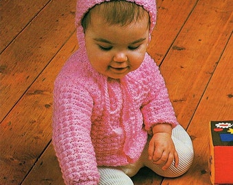 Baby Jacket, Beanie And Bootees, Crochet Pattern. PDF Instant Download.