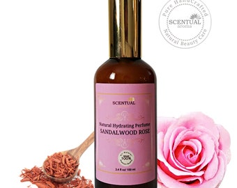 Organic SANDALWOOD ROSE Hydrating Body Mist, Sandalwood Rose Body Spray, Vegan Perfume Mist, Natural Body Spray, Gift Idea
