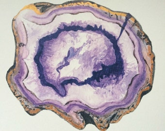 Purple Agate Slice Watercolour Print