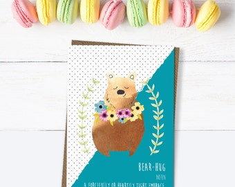Bear hug card, with love card, card for friend, motivational card, thinking of you card