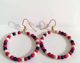 Red White and Blue Loop Earrings