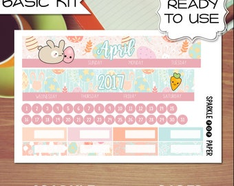 April Easter Cute Monthly Layout CLASSIC Happy Planner Stickers (Ready to Use)