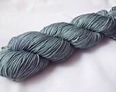 "Hand Dyed Sock Yarn, 75/25 Superwash Merino/Nylon, Sycamore Sock ""Steelworks MISFIT"""