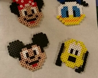 Mickey Mouse, Minnie Mouse, Disney Perler Beads, Mickey Mouse Magnets, Disney Magnets
