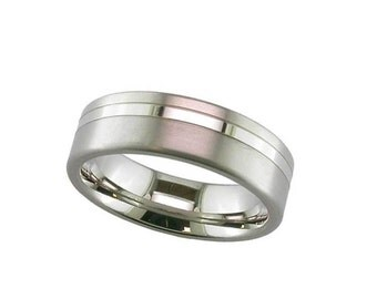 Gents 7mm Wide Titanium Wedding Band with Polished Stripe