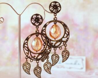 Amber earrings Glass beads earrings Round earrings Vintage earrings Orange glass beads earrings Stud boho earrings