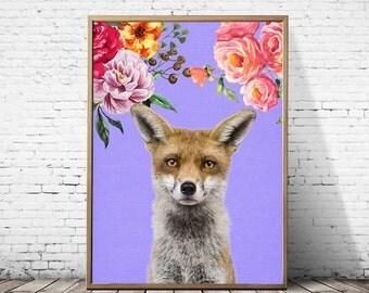 Fox print, Fox art, Fox wall art, Fox art print, Nursery decor, Nursery wall art, Woodland nursery, Forest print, Forest nursery, Fox decor
