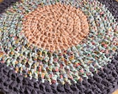 Reserved for Heather Mcreary, with4 inch band of light purple added for total diameter of 38 inches. Rag rug, crochet rag rug, purple .