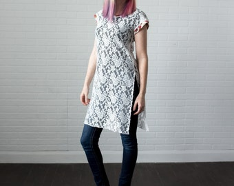 Tunic, Cream Lace, Side Slits, Handmade, floral accents