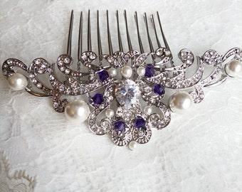 Bridal Hair Comb silver pearl purple, CZ wedding hair comb, violet crystal bridal comb, Evening Star hair, amethyst wedding purple wedding 8