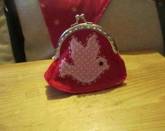 Handmade Coin Purse Bird Red
