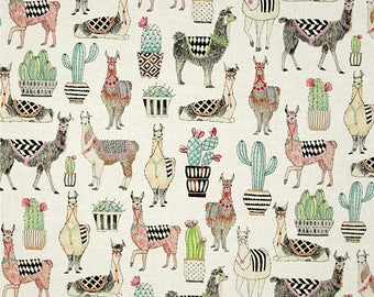 Michael Miller Fabric  -  Lovely Llamas - White - CX7297- 100% cotton fabric