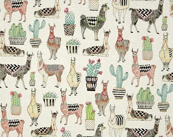 Michael Miller Fabric  -  Lovely Llamas - White - CX7297- Cotton fabric by the yard