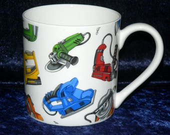 Power tools 1 pint bone china mug diff all round -- personalised if required at no extra cost