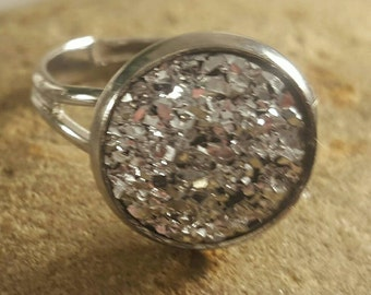 silver adjustable ring,sparkly,glitter,glitz,shiny, 12mm silver faux druzy ring,casual ring, dress ring,