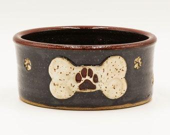 Black & White Dog Bone and Paw Print Dog Bowl | Pottery | Ceramic | Stoneware | Pottery Dog Bowl | Ceramic Dog Bowl | Stoneware Dog Bowl