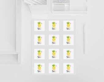"""Étiquettes """"Merci de Mademoiselle Ananas"""""""