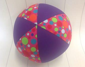 Balloon Ball Fabric, Balloon Ball Cover, Portable Ball, Travel Ball, Inflatable, Sensory, Special Needs, Pink Multi Dots, Purple, Eumundi