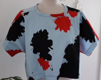 Pull Me Over Top/ Top/ T-shirt/ Oversized/ Mind Map/ Blue/ Red/ Black/ Cotton/ Casual/ Handmade