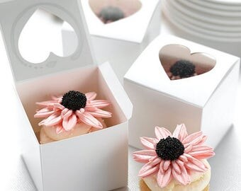 White cupcake boxes with cut out heart