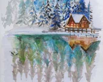 Original painting : Forest island in the Mountain - water reflection /original watercolor painting winter nature/ Snowing tree scotch pine