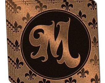 Letter M On Fleur De Lis Pattern Thin Cork Coaster Set Of 4