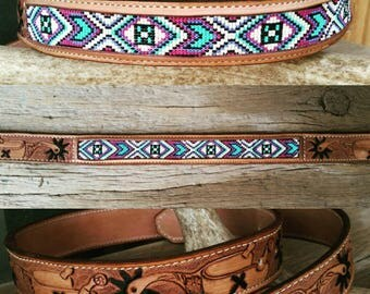 Beaded leather belt spur pattern