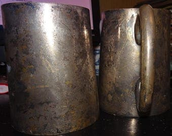 SILVERPLATED MUG LOT of 2 total Super Heavy Thick Walled Cups * Stamped India 8346 on base * Toned Stained Natural Patina and Aging * Rare!!
