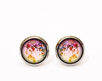 Little flower stud earrings tiny pink yelow flower floral earrings stainless steel stud earrings flower earrings Gift under 10 Christmas UK