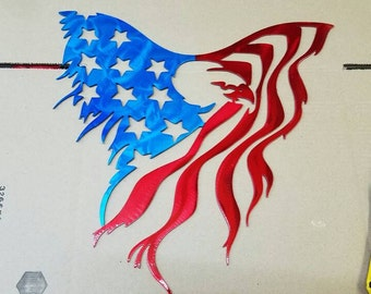 Eagle American flag metal art. Made from aluminum.