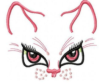 AC 009 Cat with pink eyes - Machine Embroidery Design