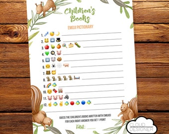 Children's Book Emoji Pictionary || Printable