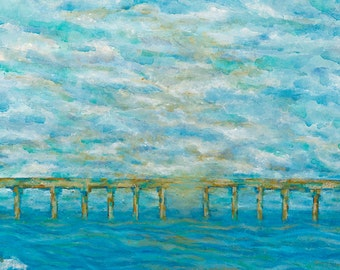 A New Day: impressionist painting, acrylic painting, large wall art, fine art print, giclee print, ocean, blue