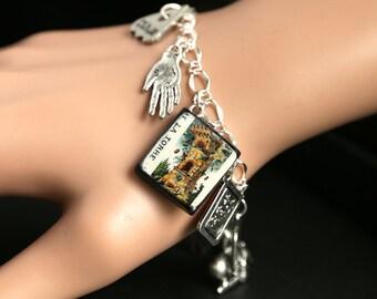 Tarot Bracelet. The Tower Charm Bracelet. Divination Bracelet. Silver Bracelet. La Torre Bracelet Tarot Jewelry. Metaphysical Jewelry.