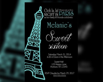 A Night in Paris Invitation, Paris Birthday Invitation, Paris Invitation, Paris Birthday, Eiffel Tower teal Invitation, Paris Sweet Sixteen