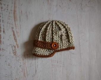 Crochet Newborn Baby Boy Newsboy Hat Photography Prop
