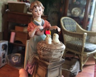 Vintage Porcelain Woman and Baby Birds Figurine Portable Lamp