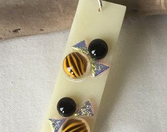 Fused glass bee necklace