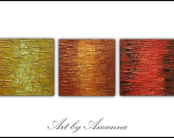 "SALE, Original Painting, Set of 3 Abstract Painting, Modern painting, Contemporary Art, Texture Painting, Wall Decor 36""x12"" Ready to Hang"