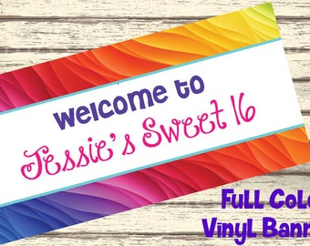 "18""x30"" Rainbow Sweet 16 Party Personalized Party Banner"