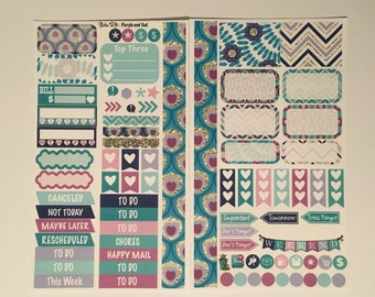 Purple and Teal Medium Personal MM Stickers Louis Vuitton Mambi Inkwell Press Filofax Kikki K Happy Life Planner LV gold glitter
