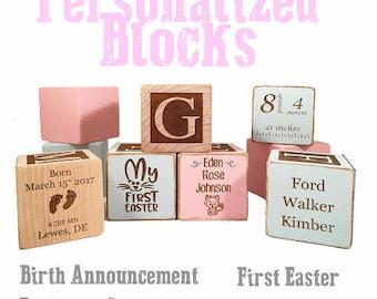 Baptism Gift Idea-Christening Block-Baptism Gift -Great Christening Keepsake Custom Engraved wooden baby blocks for newborn girl newborn boy