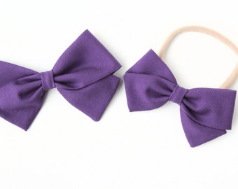 Baby Girl, Toddler, Girls Fabric Bow, Newborn, Hand tied bow- Deep Purple
